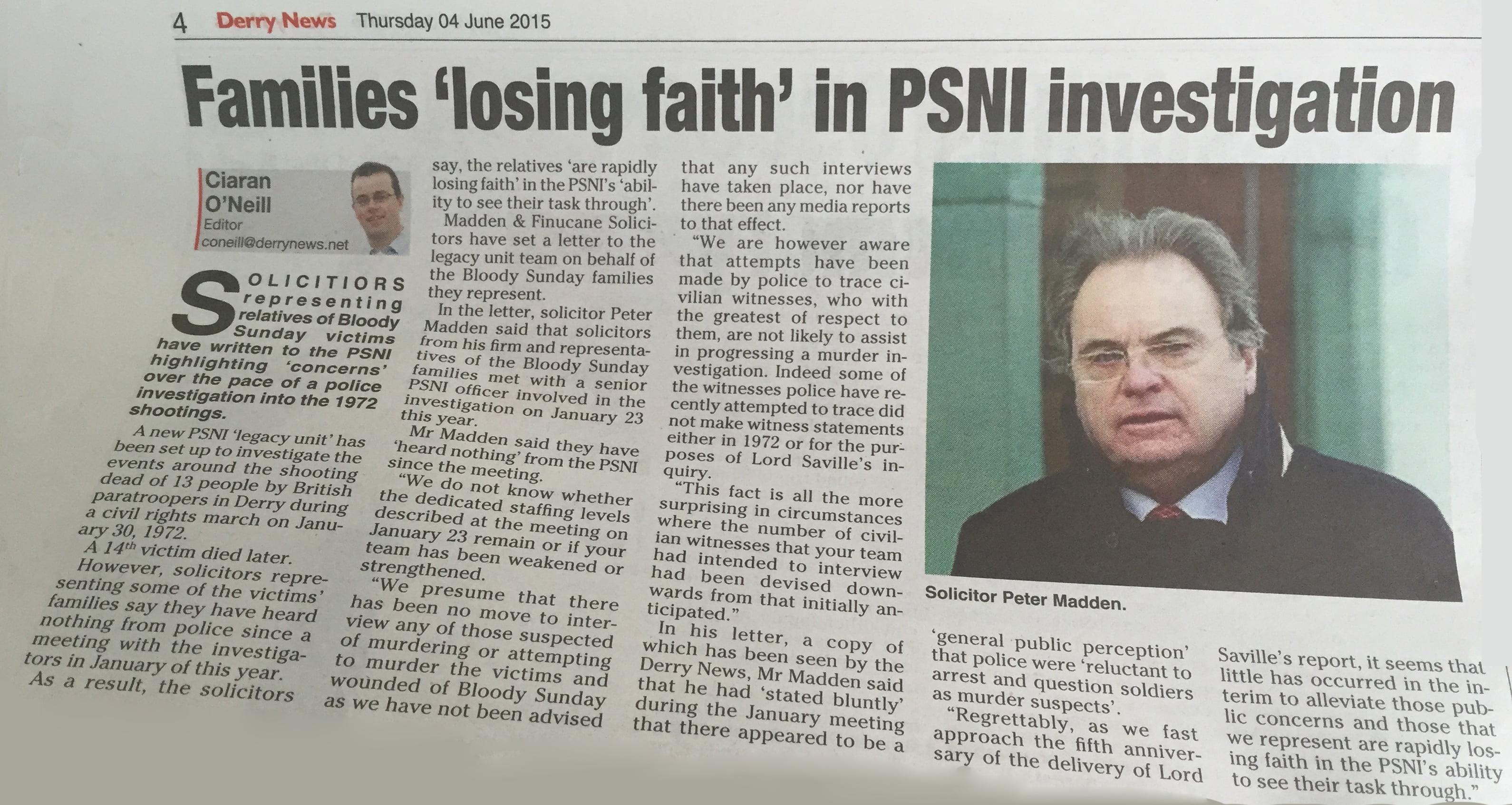 Madden & Finucane express concerns about progress in Bloody Sunday murder investigation