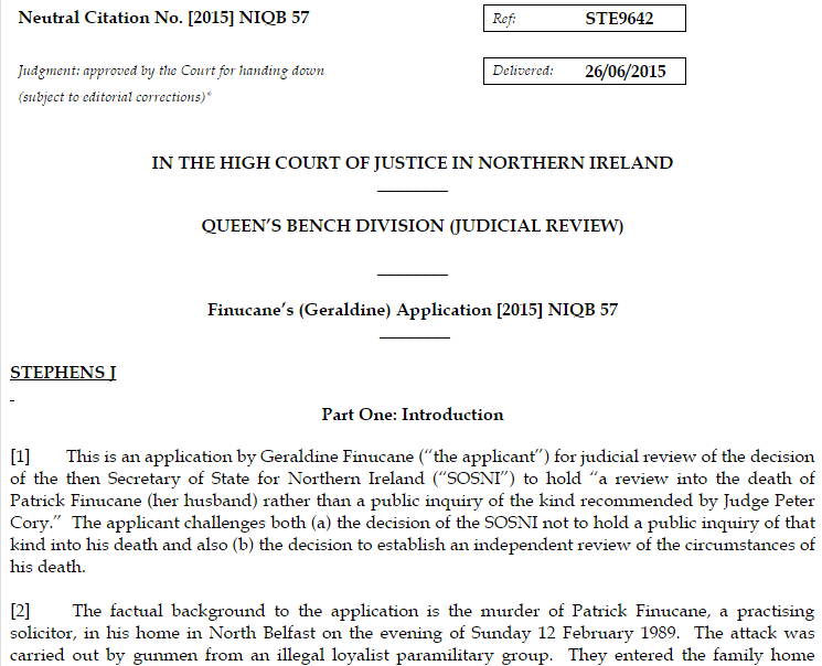 Todays court judgment & summary in Pat Finucane judicial review