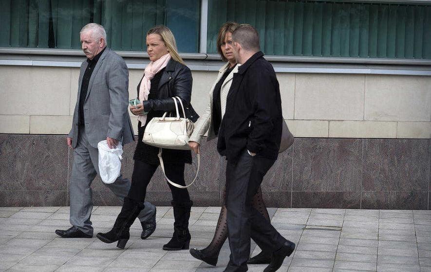 The family of Daniel McColgan leave Laganside Court