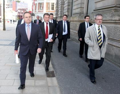Solicitors from Madden & Finucane, who represent the majority of the families of the people murdered and the people wounded on Bloody Sunday, arrive at the Guildhall, Derry for the release of the report of the Bloody Sunday Inquiry - 15 June 2010