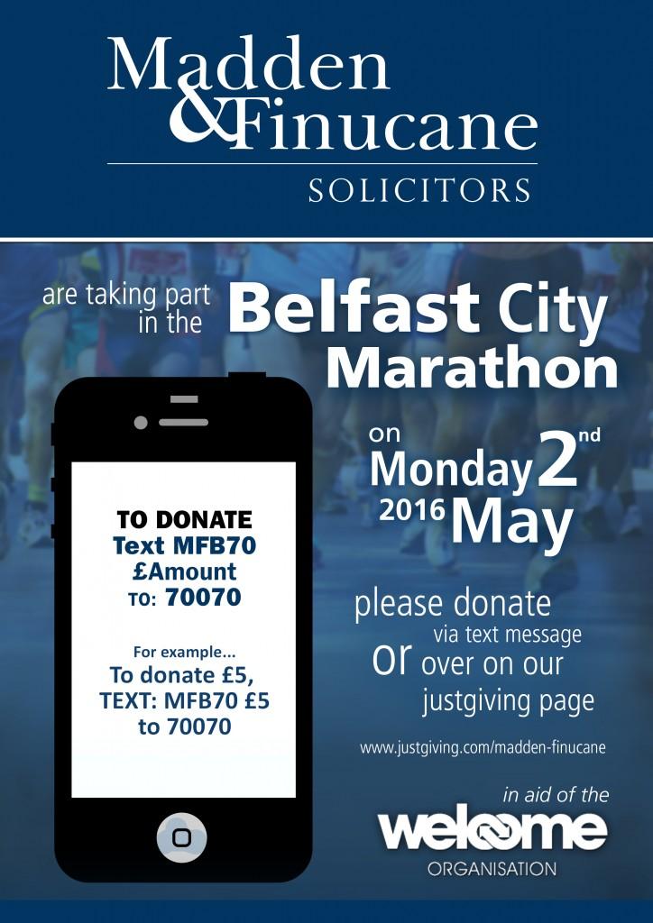 Madden & Finucane are running the Belfast Marathon for Homeless Belfast