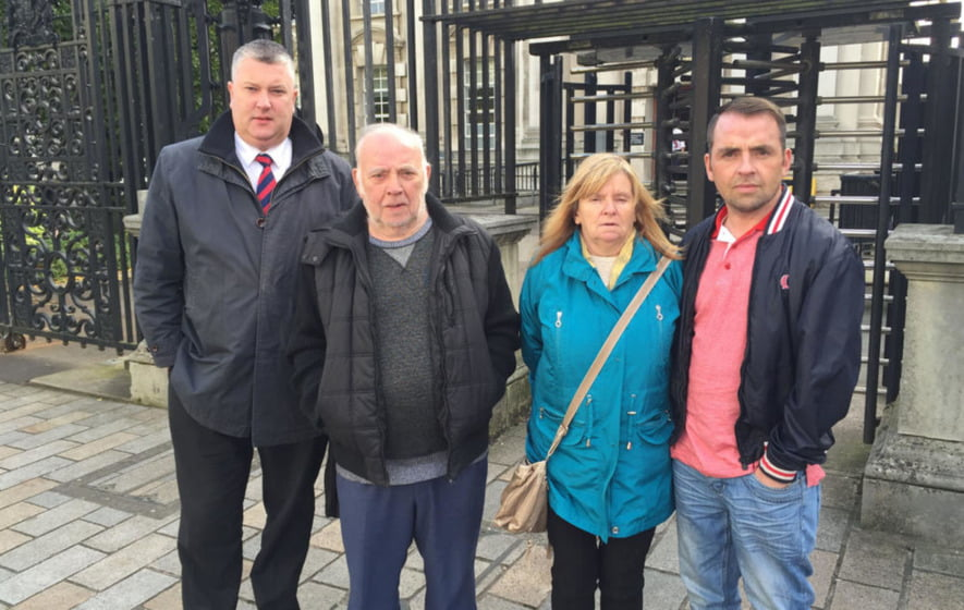 From left, solicitor Fearghal Shiels, Pearse Jordan's father Hugh, mother Teresa and brother Matt outside the Royal Courts of Justice in Belfast