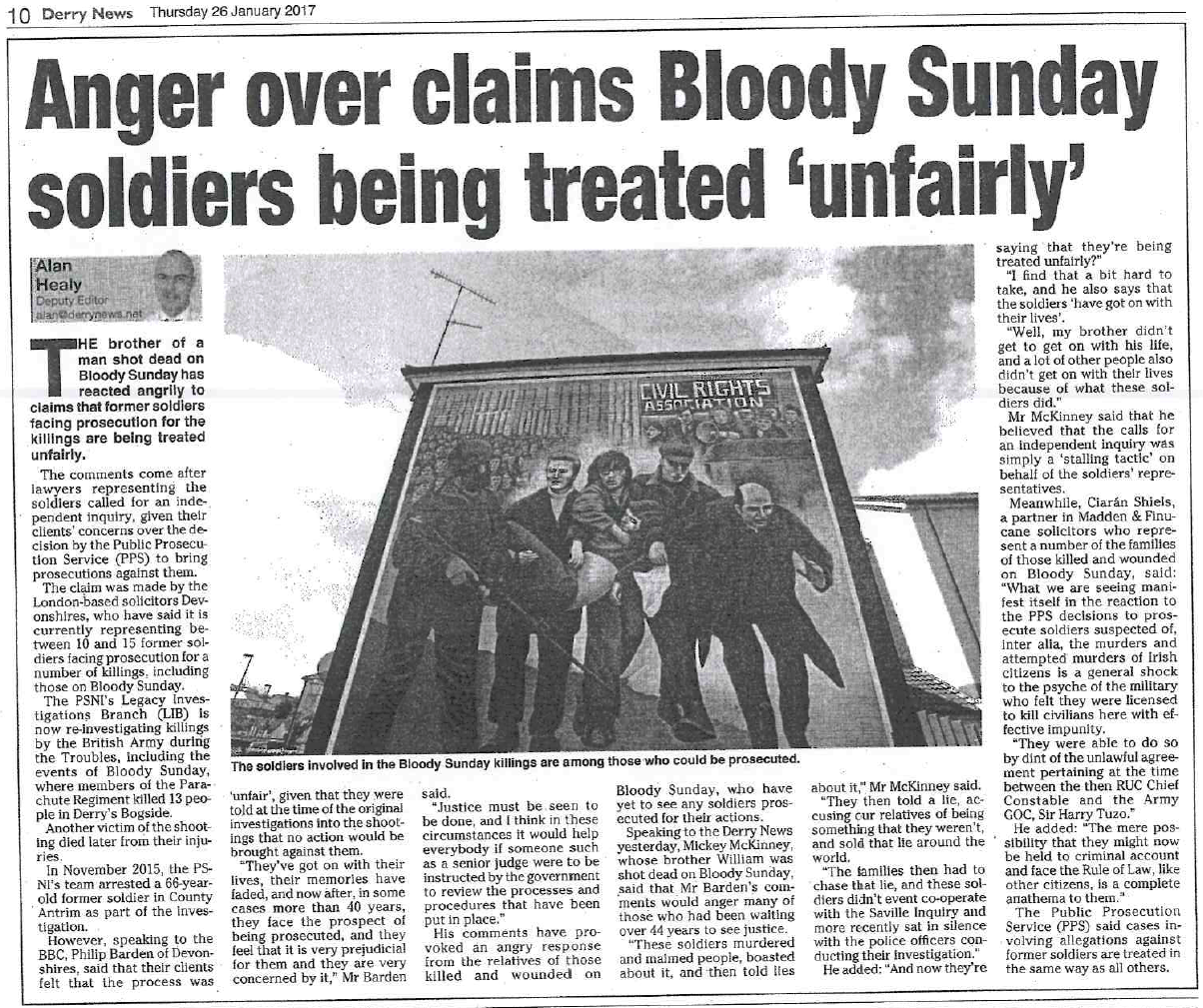 Anger over claims Bloody Sunday soldiers being treated 'unfairly'