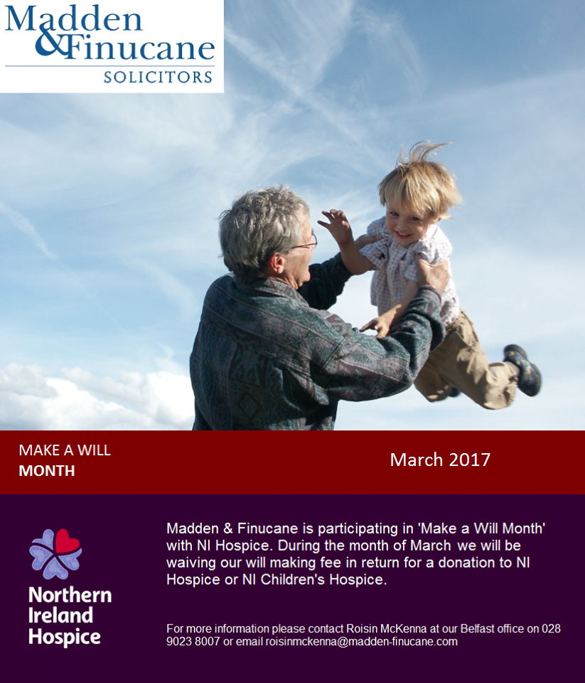 'Make a Will Month' with Northern Ireland Hospice – March 2017