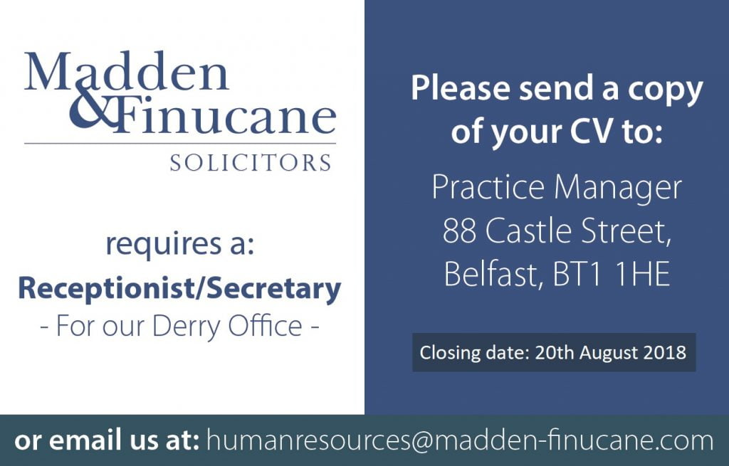 Leading Derry Solicitors Office Currently Recruiting for a Receptionist/Secretary