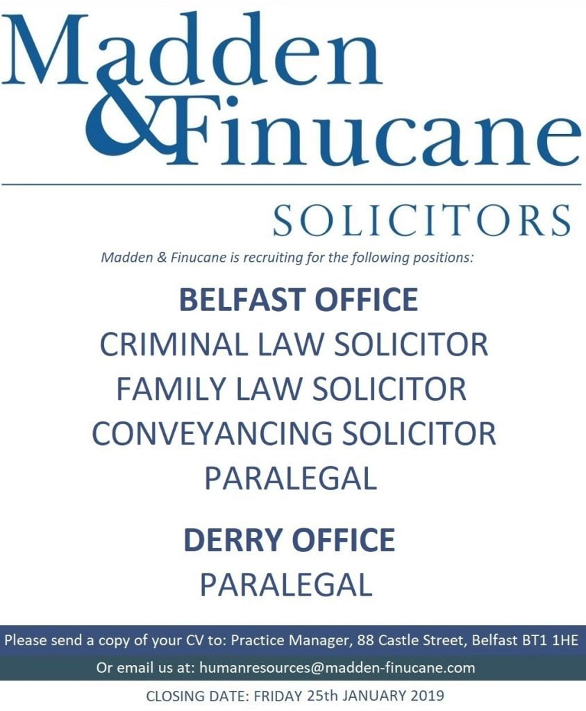 Job Opportunities at Madden & Finucane Solicitors