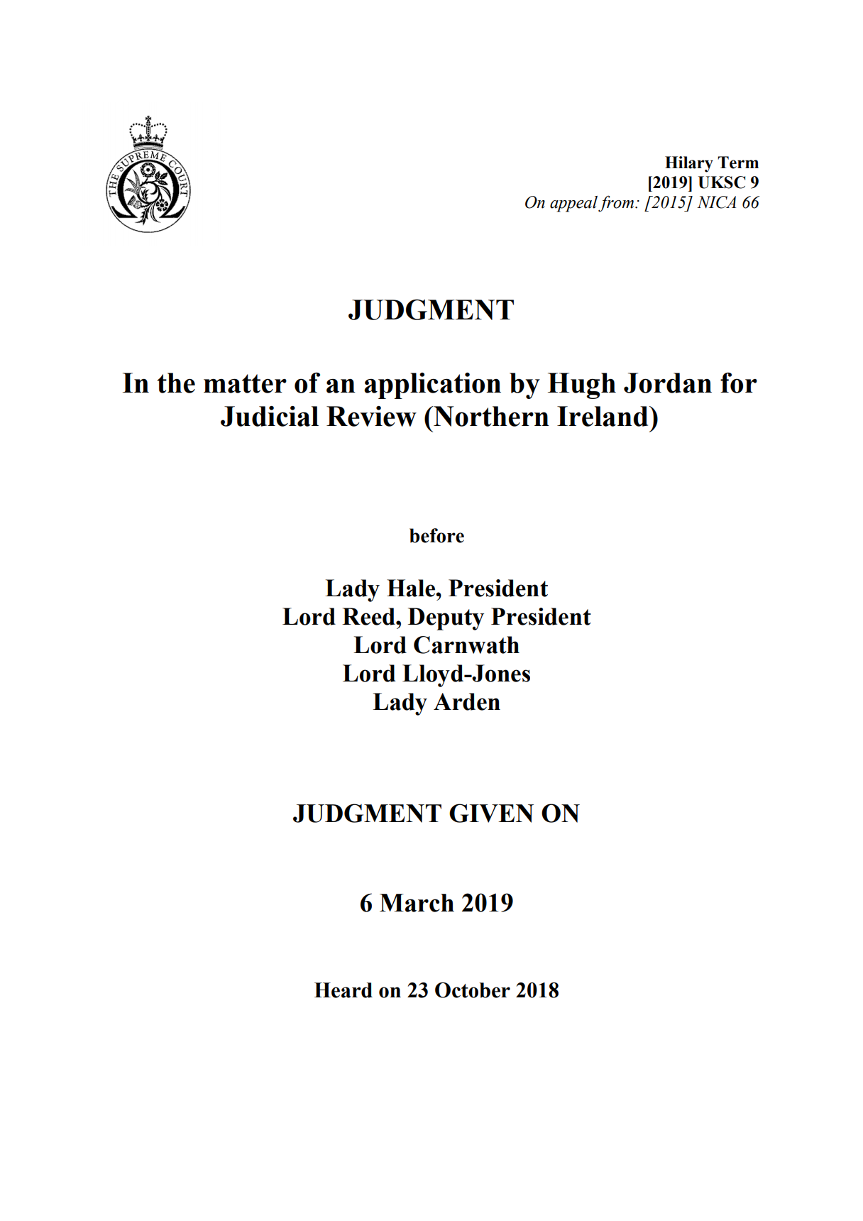Pearse Jordan Case: UK Supreme Court Judgment – In the matter of an application by Hugh Jordan for Judicial Review