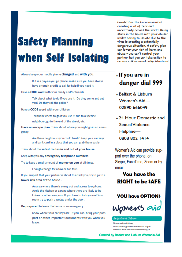 Self Isolation Safety Plan - Women's Aid