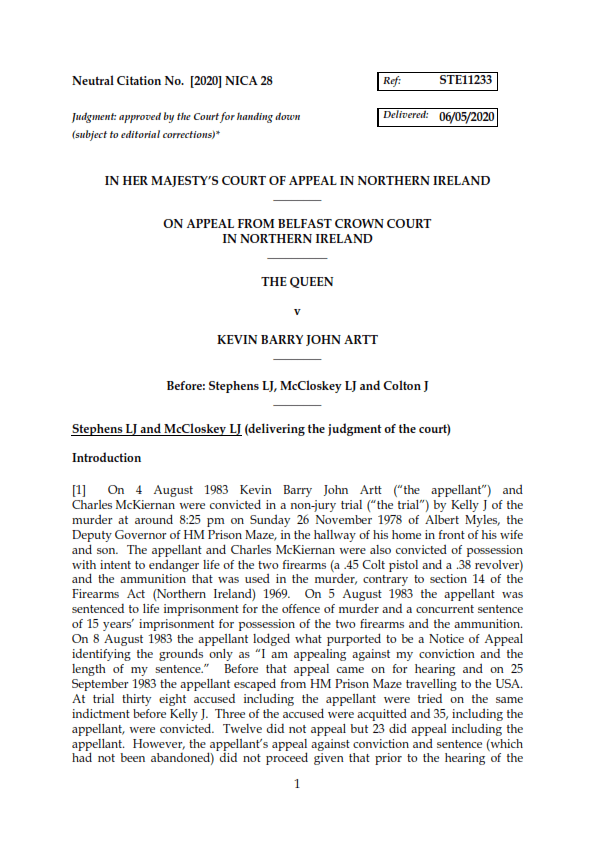 Court of Appeal - The Queen v Kevin Barry Artt