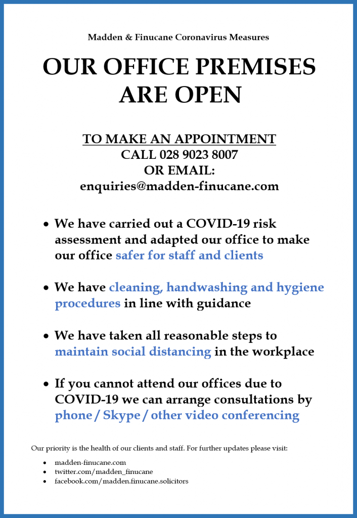 Our office premises are open