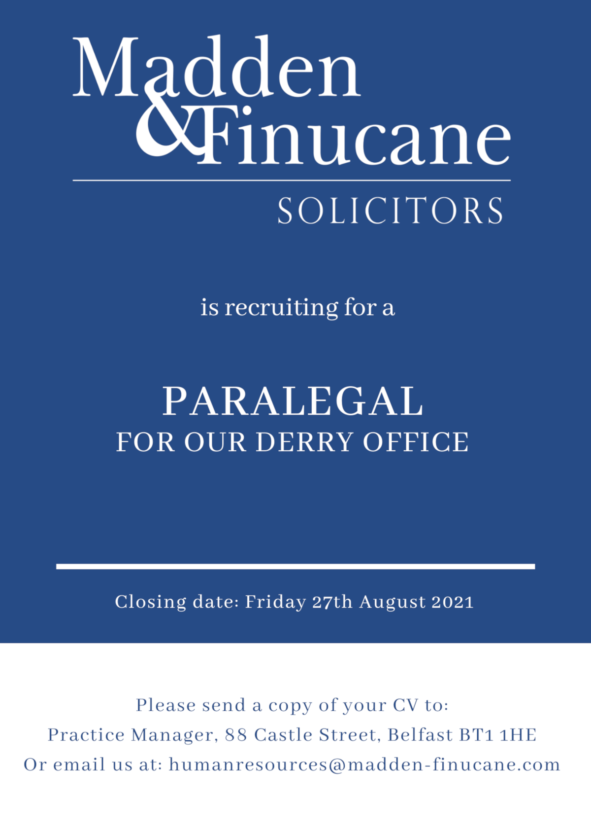 Paralegal Job Opportunity at Madden & Finucane Solicitors
