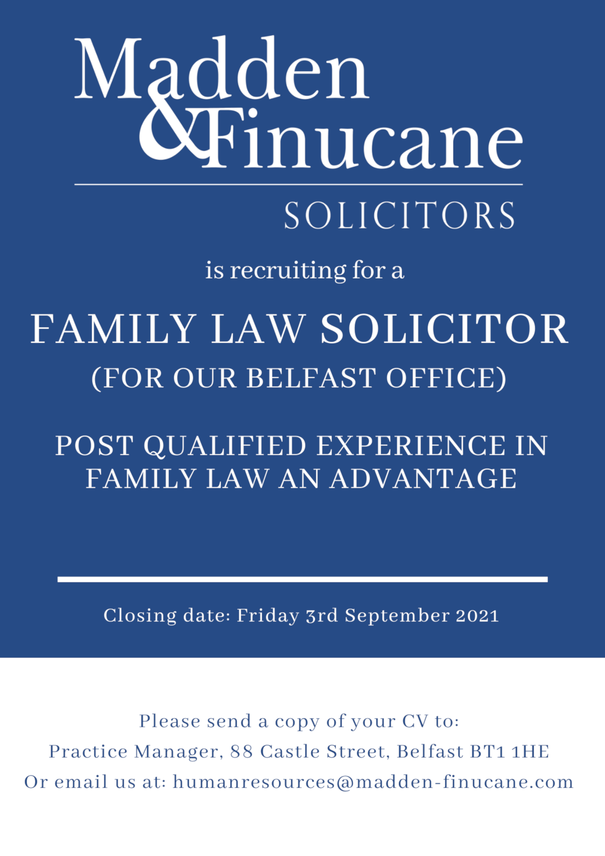 Family Law Solicitor Job Opportunity at Madden & Finucane Solicitors