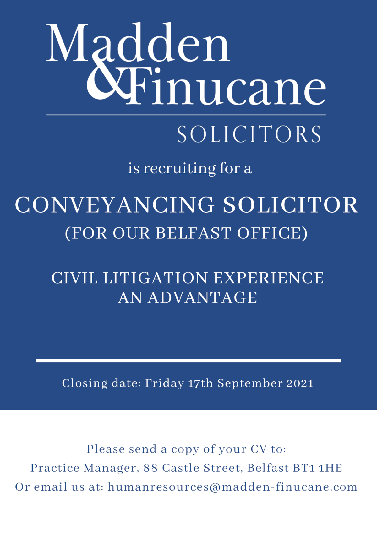 Conveyancing Solicitor Job Opportunity at Madden & Finucane Solicitors